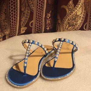 Badgley Mischka Jewel Grant Blue Satin Sandal (6)